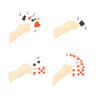 トランプセットを持っている手。勝つか負けるカジノでの余暇。