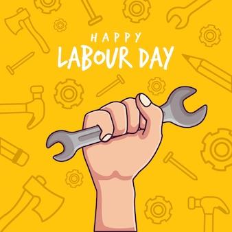 노동절 평면 만화와 손을 잡고 펜치 디자인