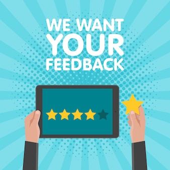Hand holding and pointing to a tablet with five star on the screen. rating and review concept. vector illustration