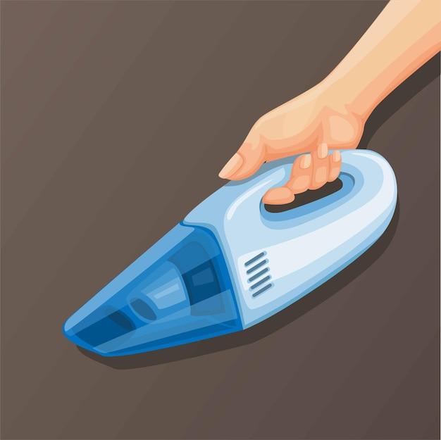 손을 잡고 휴대용 진공 청소기