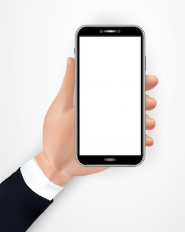 Hand holding realistic black smartphone with blank screen isolated on white background.