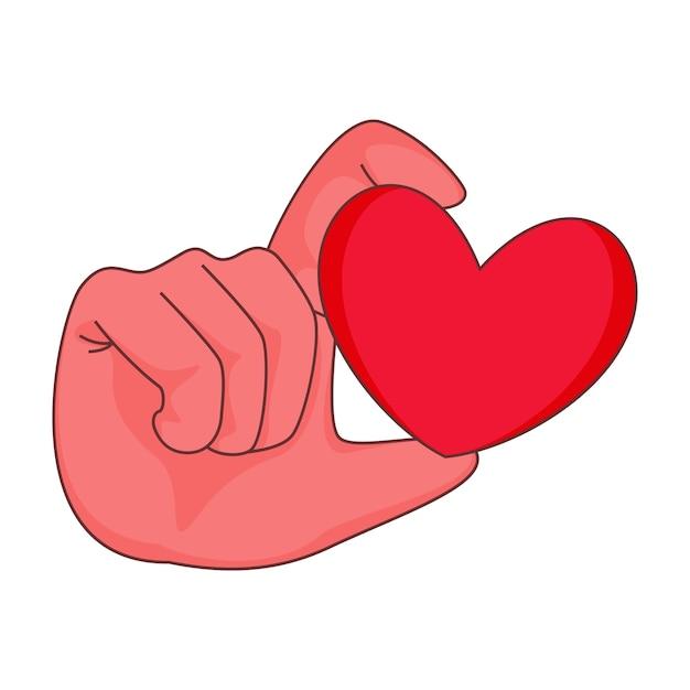 Рука держит красное сердце на белом фоне.