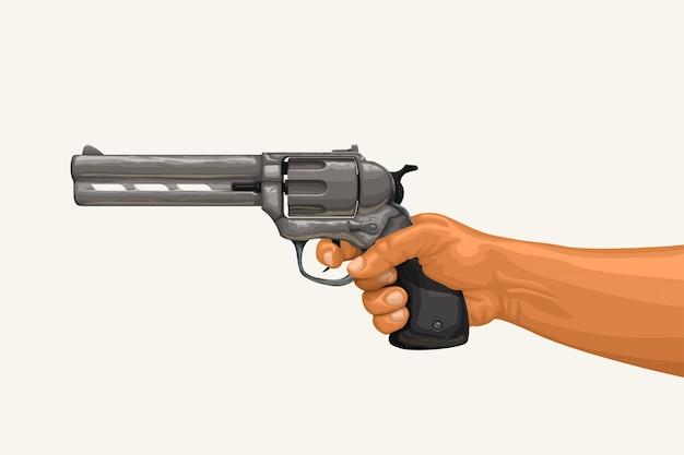 Hand holding revolver on white