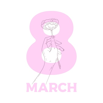Hand holding rose. gesture illustration isolated. women's day concept.