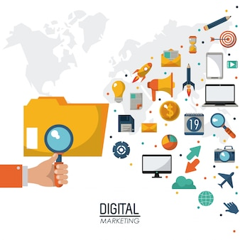 Hand holding search digital marketing strategy media