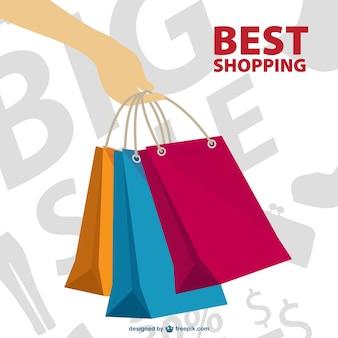 손을 잡고 쇼핑 가방 및 판매 배경
