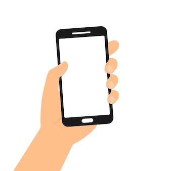 Hand holding smart phone. flat design illustration Premium Vector