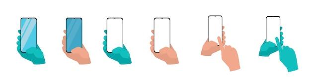 白い背景で隔離のスマートフォンを持っている手は、アプリケーションテンプレートイラストを設定します。