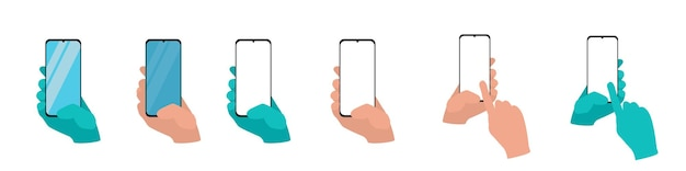 Hand holding smart phone isolated on white background set application template illustration of a