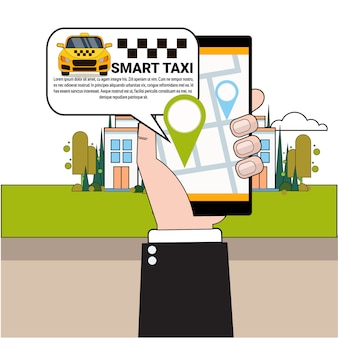 Hand holding smart phone ordering taxi car with mobile app
