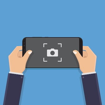 Hand holding smart phone, take pictures, illustration