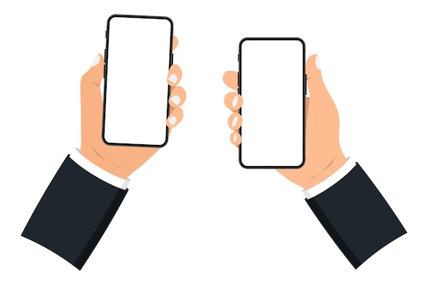 흰색 바탕에 빈 화면이 있는 스마트 폰을 들고 있는 손. 휴대 전화. 빈 화면이 있는 검은색 스마트폰. 플랫 스타일. 흰색 화면이 있는 스마트폰의 응용 프로그램 템플릿 그림 설정
