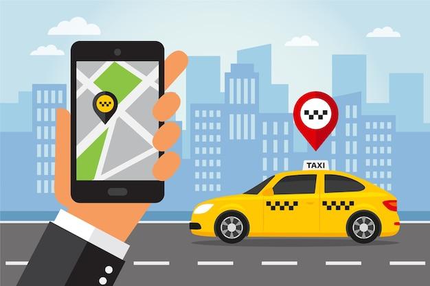 ディスプレイにタクシーアプリとスマートフォンを持っている手。フラットスタイルのタクシーサービス。