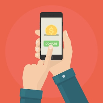 손을 잡고 스마트 폰 및 온라인 기부. 자선, 원조를위한 시간