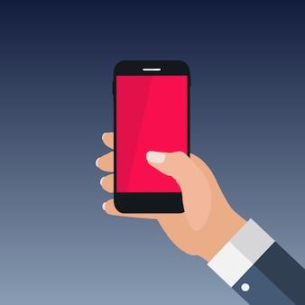 Hand holding  smartphone flat style. illustration