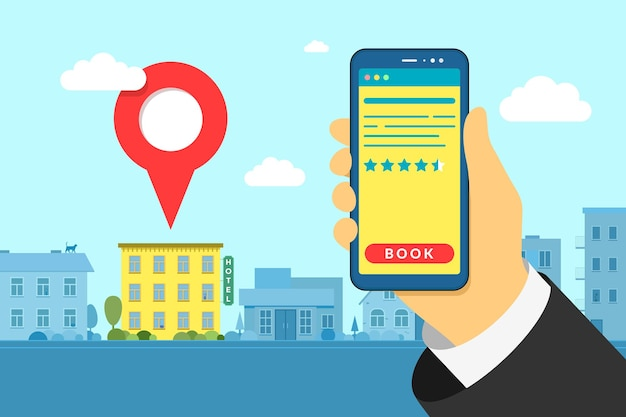 Hand holding smartphone at hotel search and booking online with rating review stars. mobile app hostel searching detailed and reservation application interface on city background. vector illustration