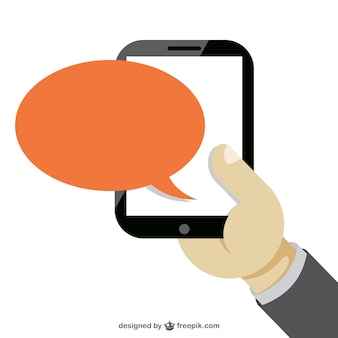 Hand holding a smartphone and orange speech bubble