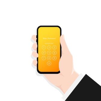 Рука, держащая блокировку экрана смартфона, иллюстрация интерфейса кода доступа