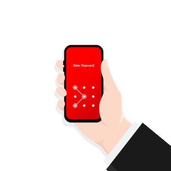 スマートフォンの画面ロックパスコードインターフェイスを持っている手