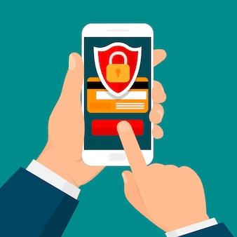 スマートフォンを持っている手。安全なモバイルトランザクション。セキュリティ支払い、支払い保護の概念。フラットなデザイン。