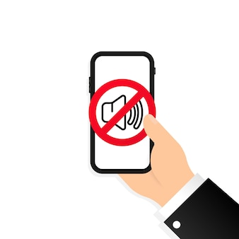 손을 잡고 스마트폰 소리를 끕니다. 스마트폰의 무음 모드. 소리 표시가 없습니다. 스마트폰의 볼륨 끄기 또는 음소거 모드 기호. 무음 모드 아이콘입니다. 스마트폰 침묵 영역. 장치 아이콘입니다. 벡터 eps 10입니다.