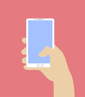 Hand holding smartphone. vector illustration in flat design style