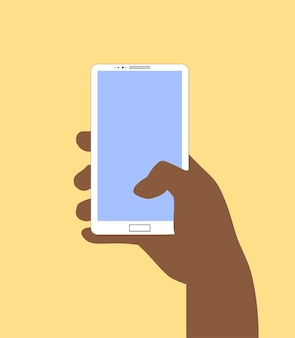 スマートフォンを持っている手。フラットなデザインスタイルのベクトルイラスト。あなたのデザインの背景eps10。