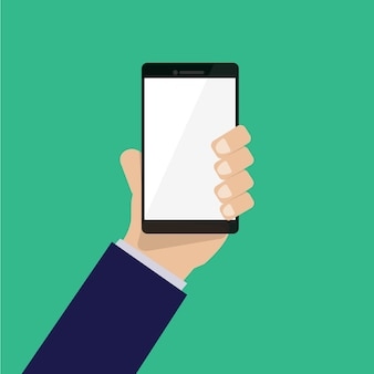 Hand holding smartphone vector with green background
