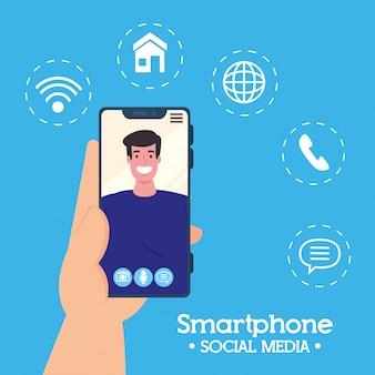 남자, 소셜 미디어 개념 화면에 스마트 폰 화상 통화를 들고 손