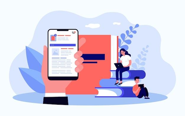 Рука смартфон с приложением для онлайн-заказа. плоские векторные иллюстрации. заказ фотоальбома или печать фотографий на сайте магазина. технологии, фотография, семья, концепция памяти для дизайна