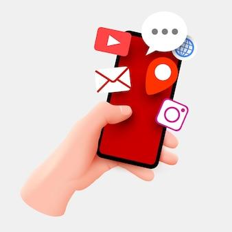 Рука смартфон с иконками приложений. мобильные приложения