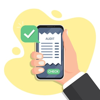 Hand holding smartphone with audit in a flat design. smartphone audit receipts. online document