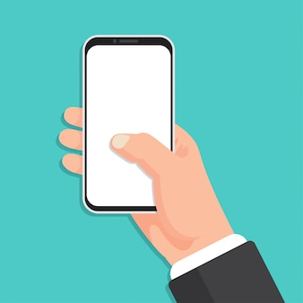Hand holding smartphone with blank screen in a flat design