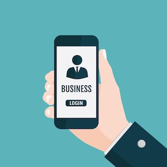 Hand holding smartphone with business app.