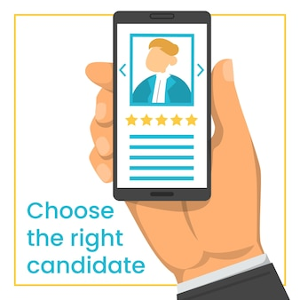 Hand holding smartphone with candidate cv