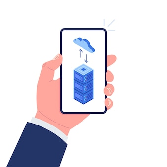 Hand holding smartphone with cloud and server on screen