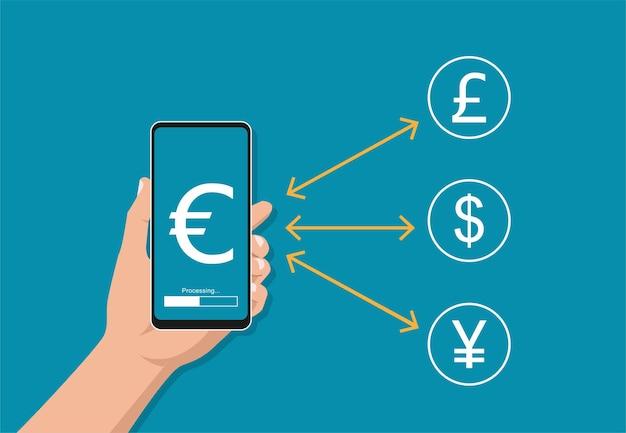 通貨記号とスマートフォンを持っている手。両替の概念図