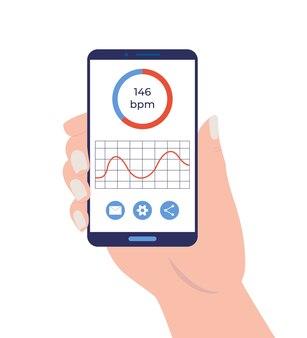 Рука смартфон с приложением для мониторинга сердечного ритма.