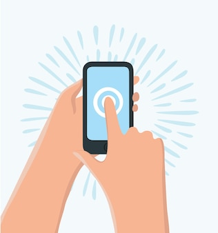 Hand holding smartphone with incoming call screen