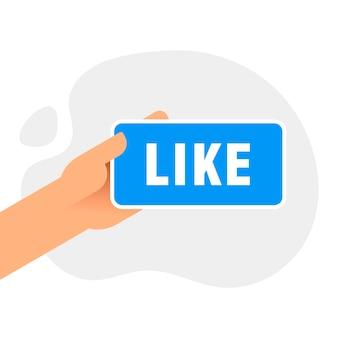 ボタンのように、画面に同じようなメッセージが表示されたスマートフォンを持っている手。親指を立てるアイコン。ソーシャルネットワーク、モバイルデバイスでのソーシャルメディアの使用。ウェブサイト、ウェブバナーのコンセプト。フラットなデザインのベクトル図