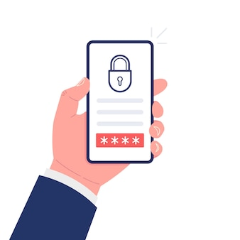 Hand holding smartphone with lock and button on the screen. mobile security concept. vector illustration.