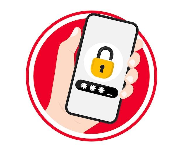 잠금 화면이 있는 스마트폰을 들고 있는 손. 휴대 전화 보안 액세스 알림 메시지에 대한 인증을 위해 비밀번호 코드 확인 보안 보호를 입력하는 전화. 2단계 인증