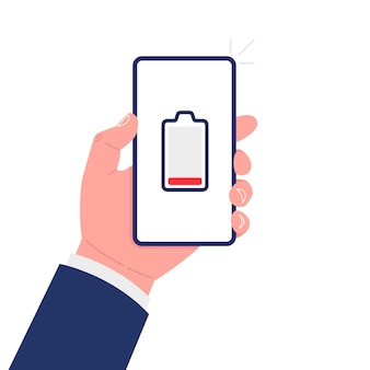 Hand holding smartphone with low battery on the screen.vector illustration.