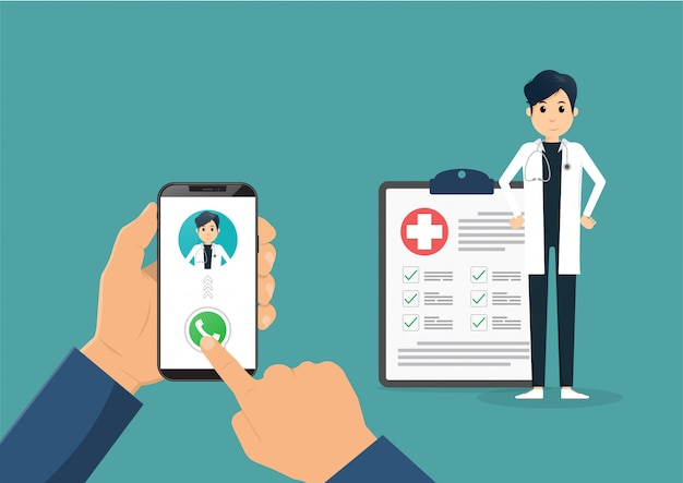 Hand holding smartphone with male doctor on call and an online consultation. vector flat illustration.