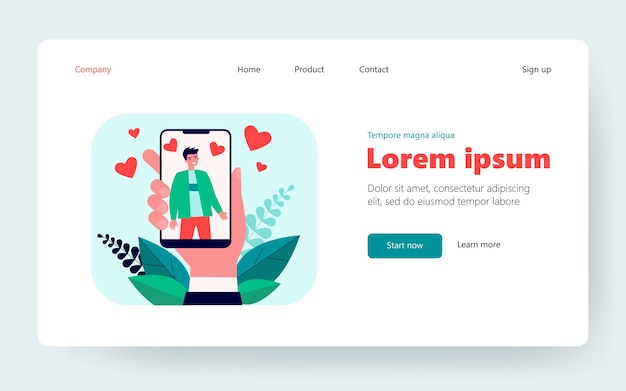 Hand holding smartphone with man photo. like, heart, cellphone flat vector illustration. social media and digital technology concept for banner, website design or landing web page