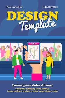 Hand holding smartphone with map of metro template