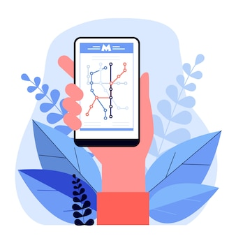 Hand holding smartphone with metro map