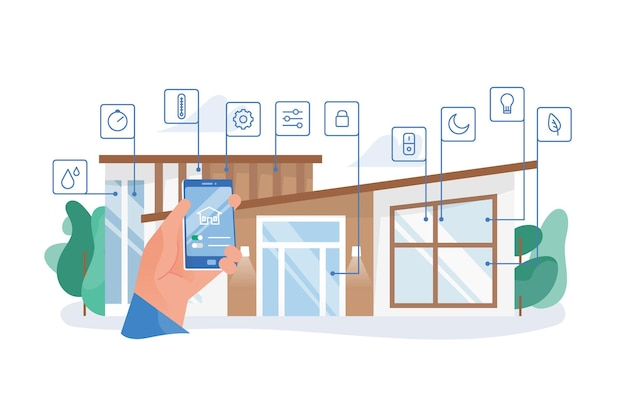 Hand holding smartphone with mobile application for house automation against residential building