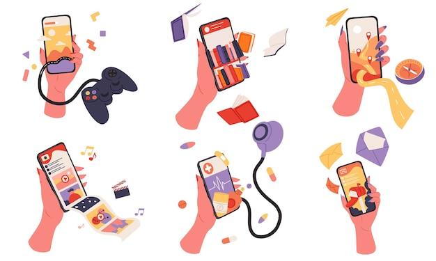 Рука держит смартфон с мобильным приложением в плоском дизайне