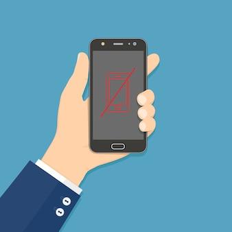 Рука, держащая смартфон с запрещенным телефоном, подписывается на экране